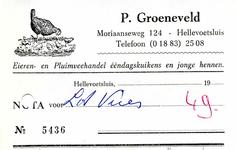HE_GROENEVELD_002 Hellevoetsluis, Groeneveld - P. Groeneveld, Eieren- en Pluimveehandel ééndagskuikens en jonge hennen