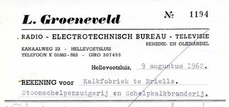 HE_GROENEVELD_003 Hellevoetsluis, Groeneveld - L. Groeneveld. Radio - Electrotechnisch Bureau - Televisie. Benzine- en ...