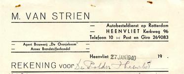 HV_STRIEN_002 Heenvliet, Van Strien - M. van Strien, Autobesteldienst op Rotterdam. Agent Brouwerij De Oranjeboom annex ...