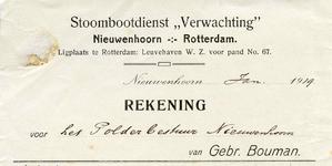 NN_BOUMAN_001 Nieuwenhoorn, Bouman - Motorbootdienst Verwachting , Nieuwenhoorn - Rotterdam. Ligplaats te Rotterdam: ...