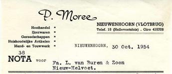 NN_MOREE_003 Nieuwenhoorn, Moree - P. Moree, Houthandel, ijzerwaren, gereedschappen, huishoudelijke artikelen, mand- en ...