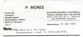 NN_MOREE_004 Nieuwenhoorn, Moree - P. Moree, Houthandel, ijzerwaren, gereedschappen, huishoudelijke artikelen, mand- en ...