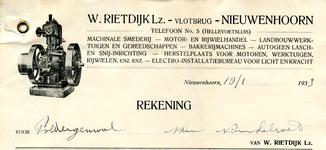 NN_RIETDIJK_006 Nieuwenhoorn, Rietdijk - W. Rietdijk Lz., Machinale smederij, Motor- en rijwielhandel - ...