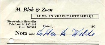 NS_BLOK_001 Nieuwesluis, Blok - M. Blok & Zoon. Luxe- en vrachtautobedrijf, (1963)