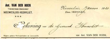 NS_HOEK_001 Nieuwesluis, Van der Hoek - Ant. van der Hoek, Timmerman-Aannemer, (1920)
