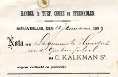 NS_KALKMAN_001 Nieuwesluis, Kalkman - C. Kalkman Sr., Handel in turf, cooks en steenkolen, (1889)