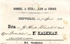 NS_KALKMAN_002 Nieuwesluis, Kalkman - C. Kalkman, Handel in steenkolen en cooks, (1890)