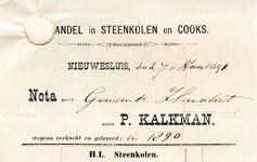 NS_KALKMAN_003 Nieuwesluis, Kalkman - P. Kalkman, Handel in steenkolen en cooks, (1890)
