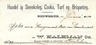 NS_KALKMAN_005 Nieuwesluis, Kalkman - W. Kalkman Cz., Handel in steenkolen, cooks, turf en briquetten, (1900)