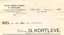 NS_KORTLEVE_001 Nieuwesluis, Kortleve - G. Kortleve. Café, hotel, stalhouderij en uitspanning G. Kortleve, in wijnen, ...
