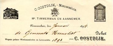 NS_OOSTDIJK_001 Nieuwesluis, Oostdijk - C. Oostdijk, Mr. Timmerman en Aannemer, (1894)
