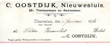 NS_OOSTDIJK_002 Nieuwesluis, Oostdijk - C. Oostdijk, Mr. Timmerman en Aannemer, (1906)