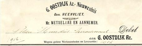 NS_OOSTDIJK_003 Nieuwesluis, Oostdijk - G. Oostdijk Az., Mr. Metselaar en Aannemer, (1916)