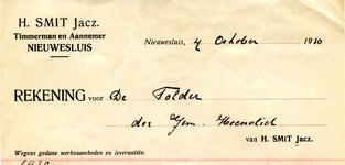 NS_SMIT_001 Nieuwesluis, Smit - H. Smit Jacz., Timmerman en Aannemer, (1930)