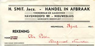 NS_SMIT_002 Nieuwesluis, Smit - H. Smit Jacz., Handel in afbraak. Timmerman en Aannemer, (1933)