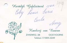 OV_BUUREN_001 Oostvoorne, Van Buuren - Kwekerij van Buuren (BEDANKKAARTJE), (1969)