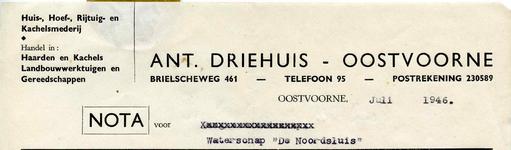 OV_DRIEHUIS_003 Oostvoorne, Driehuis - Ant. Driehuis, Huis-, Hoef-, Rijtuig- en Kachelsmederij. Handel in: Haarden en ...
