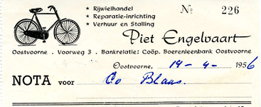 OV_ENGELVAART_002 Oostvoorne, Engelvaart - Piet Engelvaart, Rijwielhandel, reparatie-inrichting, verhuur en stalling, (1956)