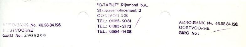 OV_GTAPIJT_001 Oostvoorne, G-Tapijt - G-Tapijt Rijnmons b.v., (1973)