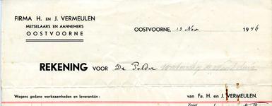OV_VERMEULEN_001 Oostvoorne, Vermeulen - Firma H. en J. Vermeulen, Metselaars en Aannemers, (1946)