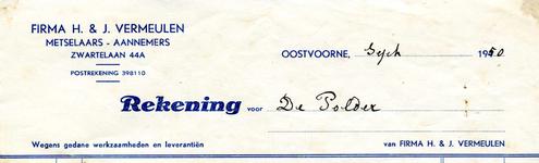 OV_VERMEULEN_002 Oostvoorne, Vermeulen - Firma H. en J. Vermeulen, Metselaars - Aannemers, (1950)