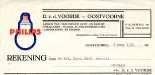 OV_VOORDE_001 Oostvoorne, V.d. Voorde - D. v.d. Voorde. Aanleg van electrische licht- en kracht-installaties. Handel ...
