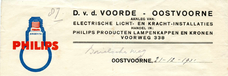 OV_VOORDE_002 Oostvoorne, V.d. Voorde - D. v.d. Voorde. Aanleg van: electrische licht- en kracht-installaties. Handel ...