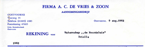 OV_VRIES_001 Oostvoorne, De Vries en Zoon - Firma A.C. de Vries en Zoon, Aannemingsbedrijf, (1962)