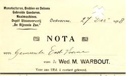 OV_WARBOUT_001 Oostvoorne, Warbout - Wed. M. Warbout, Manufacturen, bedden en dekens, Gebreide goederen. Naaimachines. ...