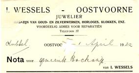 OV_WESSELS_001 Oostvoorne, Wessels - I. Wessels, Juwelier. Magazijn van goud- en zilverwerken, horloges, klokken enz. ...