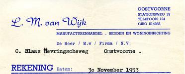 OV_WIJK_002 Oostvoorne, Van Wijk - L.M. van Wijk, Manufacturenhandel. Bedden en woninginriching, (1953)