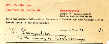 OV_ZANDBERGEN_001 Oostvoorne, Zandbergen - Wm. Zandbergen, Zaadteelt en zaadhandel. Specialiteit in snijbloemzaden, (1970)