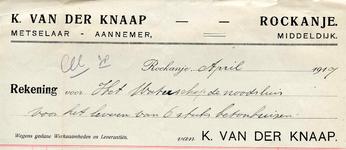 RO_KNAAP_001 Rockanje, Van der Knaap - K. van der Knaap, Metselaar - Aannemer, (1917)