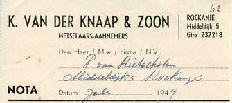 RO_KNAAP_006 Rockanje, Van der Knaap - K. van der Knaap & Zoon, Metselaars - Aannemers, (1947)
