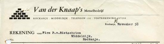 RO_KNAAP_011 Rockanje, Van der Knaap - Van der Knaap's Metselbedrijf, (1958)