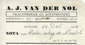 RO_NOL_001 Rockanje, Van der Nol - A.J. van der Nol, Vrachtrijder en kolenhandel, (1950)
