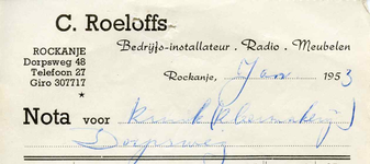 RO_ROELOFFS_004 Rockanje, Roeloffs - Bedrijfs-installateur, Radio. Meubelen, C. Roeloffs, (1953)