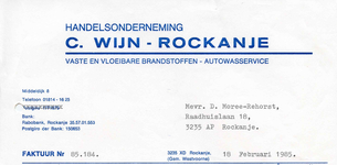 RO_WIJN_002 Rockanje, Wijn - C. Wijn, Handelsonderneming. Vaste en vloeibare brandstoffen. Autowasservice, (1985)