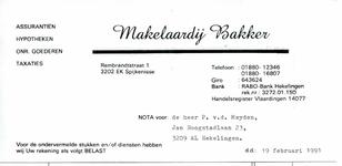 SP_BAKKER_003 Spijkenisse, Bakker - Makelaardij Bakker, Assurantiën, Hypotheken, onr. goederen, Taxaties, (1991)