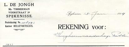 SP_JONGH_005 Spijkenisse, De Jongh - L. de Jongh, Mr. Timmerman, (1924)