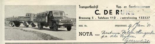 SP_RIJKE_003 Spijkenisse, de Rijke - Transportbedrijf C. de Rijke, Vee- en goederenvervoer, (1951)