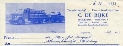 SP_RIJKE_004 Spijkenisse, De Rijke - Transportbedrijf C. de Rijke, Vee- en goederenvervoer, (1957)