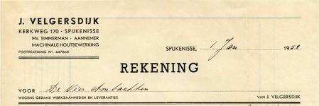 SP_VELGERSDIJK_001 Spijkenisse, Velgersdijk - J. Velgersdijk, Mr. Timmerman - Aannemer. Machinale houtbewerking, (1952)