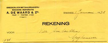 SP_WAARD_005 Spijkenisse, De Waard - A. de Waard & Zn., Smederij en metaaldraaierij. Machine reparatie, (1942)