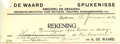 SP_WAARD_006 Spijkenisse, De Waard - A. De Waard, Smederij en draaierij. Reparatie-inrichting voor motoren, tractors, ...