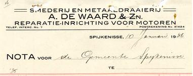 SP_WAARD_008 Spijkenisse, A. de Waard & Zn. - Smederij en metaaldraaierij, reparatie-inrichting voor motoren, (1936)