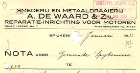 SP_WAARD_009 Spijkenisse, A. de Waard & Zn. - Smederij en metaaldraaierij, reparatie-inrichting voor motoren, (1933)