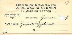 SP_WAARD_010 Spijkenisse, A. de Waard & Zonen - Smederij en metaaldraaierij, reparatie-inrichting voor motoren, (1927)