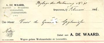 SP_WAARD_012 Spijkenisse, De Waard - A. de Waard, Smederij - Draaierij. Rijwielhandel. Reparatieinrichting, (1906)