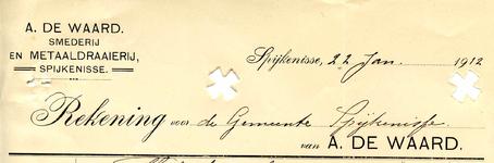 SP_WAARD_013 Spijkenisse, A. de Waard - Smederij en Metaaldraaierij, (1912)